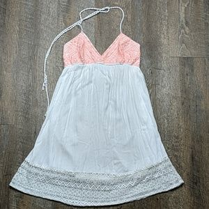 Embroidered lace dress halter tie Flying Tomato